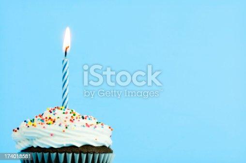 Single birthday cupcake with lit candle (macro shot) http://catlane.com/images/treats.jpg