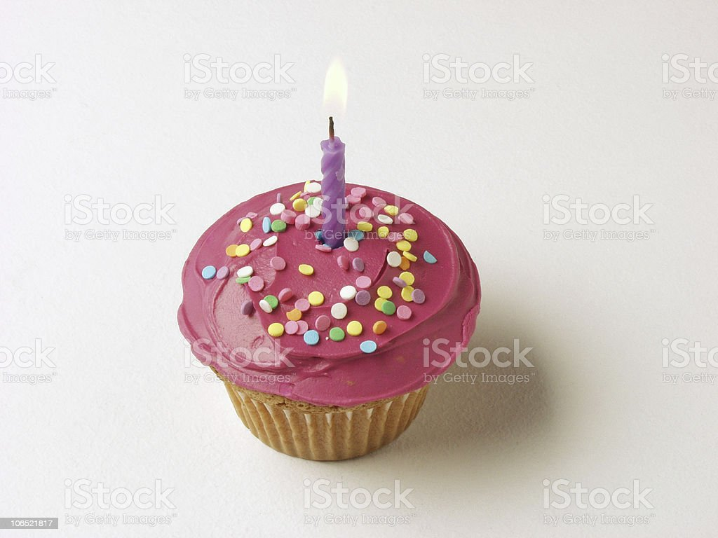 Happy Birthday Cupcake Single Candle One Year Old