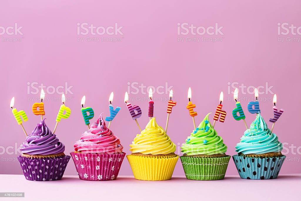 Happy Birthday Cupcakes Lizenzfreies Stock Foto