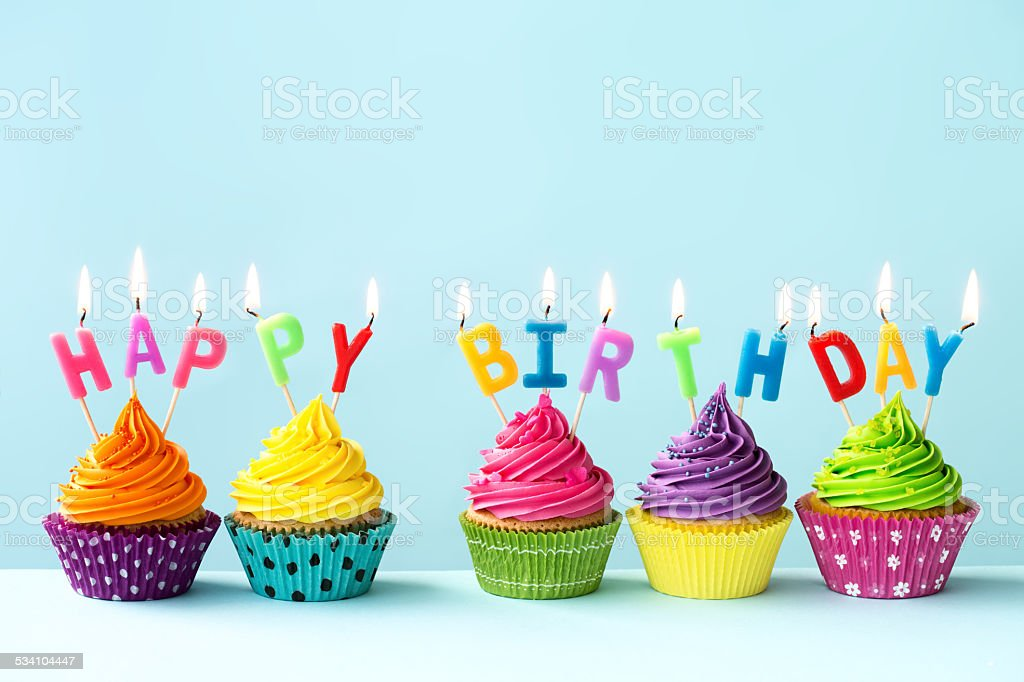 Happy birthday cupcakes stock photo