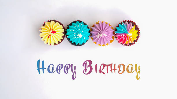 Happy Birthday cute cupcake on white background stock photo