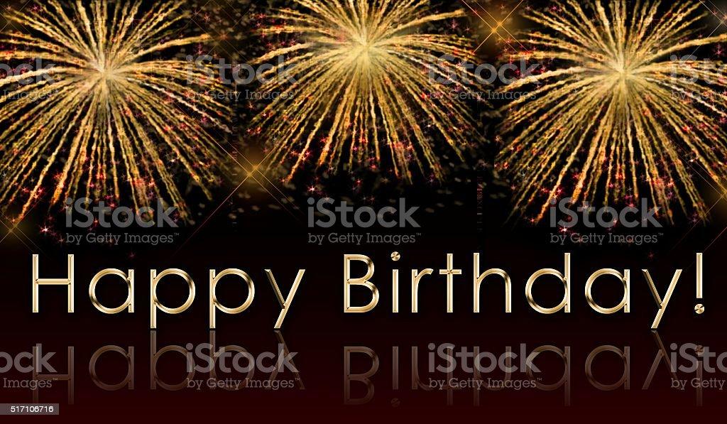 Carta Di Buon Compleanno Con Fuochi Dartificio Fotografie Stock E