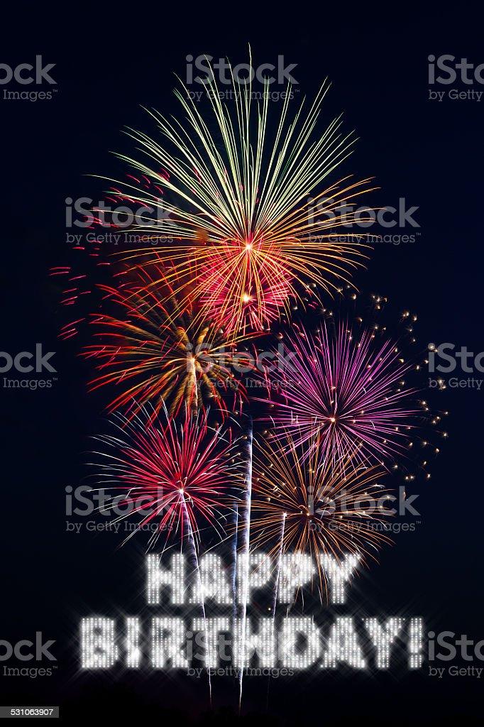 Buon Compleanno Con Fuochi Dartificio Fotografie Stock E Altre