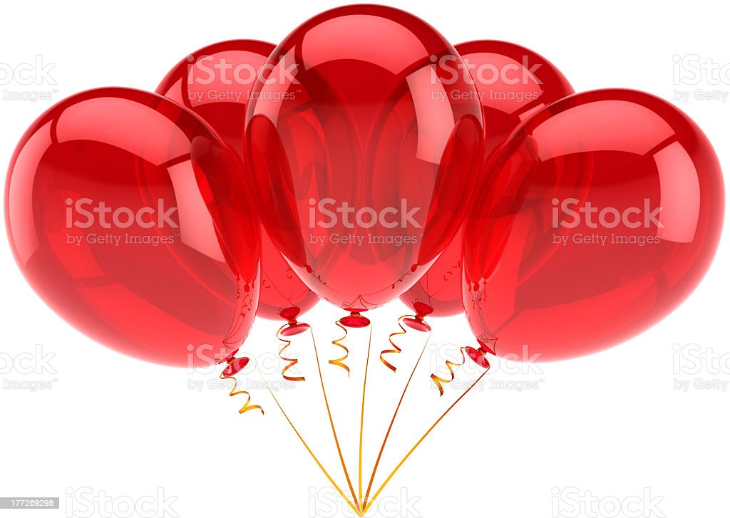 Happy birthday five helium balloons party decoration colored red royalty-free stock photo
