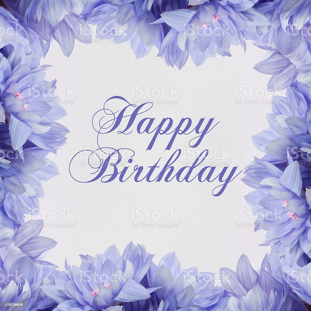 Happy Birthday Flower Decoration On White Background Stock Photo