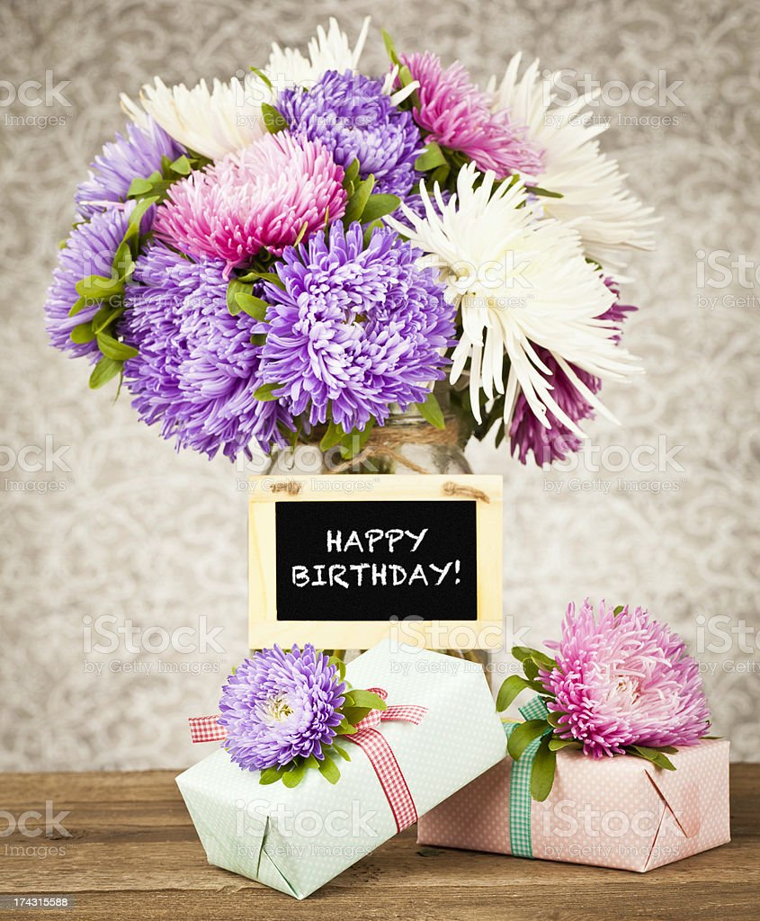 Happy birthday flowers and gift stock photo more pictures of aster happy birthday flowers and gift royalty free stock photo izmirmasajfo Image collections