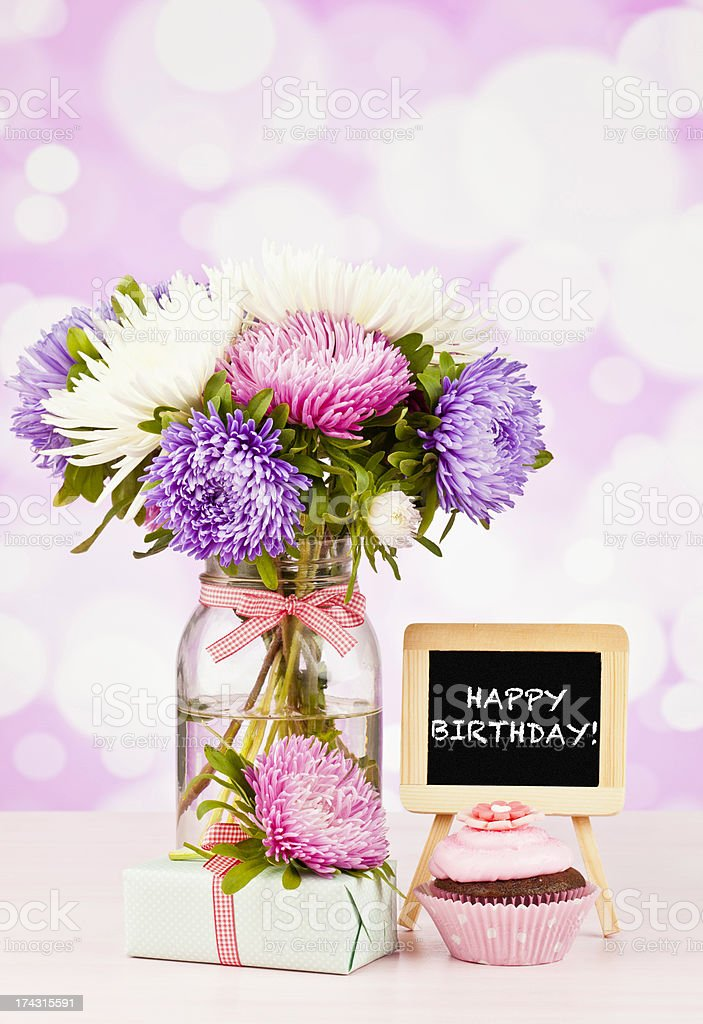 Happy Birthday Flowers With Cupcake And Gift Stock Photo & More ...