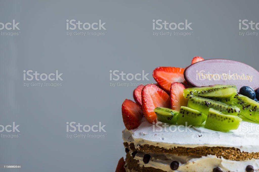 Cool Happy Birthday Fruit Cake Stock Photo Download Image Now Istock Personalised Birthday Cards Veneteletsinfo