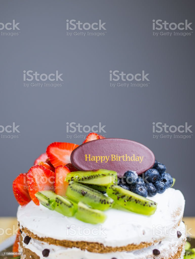 Peachy Happy Birthday Fruit Cake Stock Photo Download Image Now Istock Funny Birthday Cards Online Alyptdamsfinfo