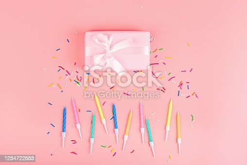 1093222958 istock photo Happy birthday gift box, candles and confetti on pink background, top view. Flat lay style. Mockup, template 1254722553