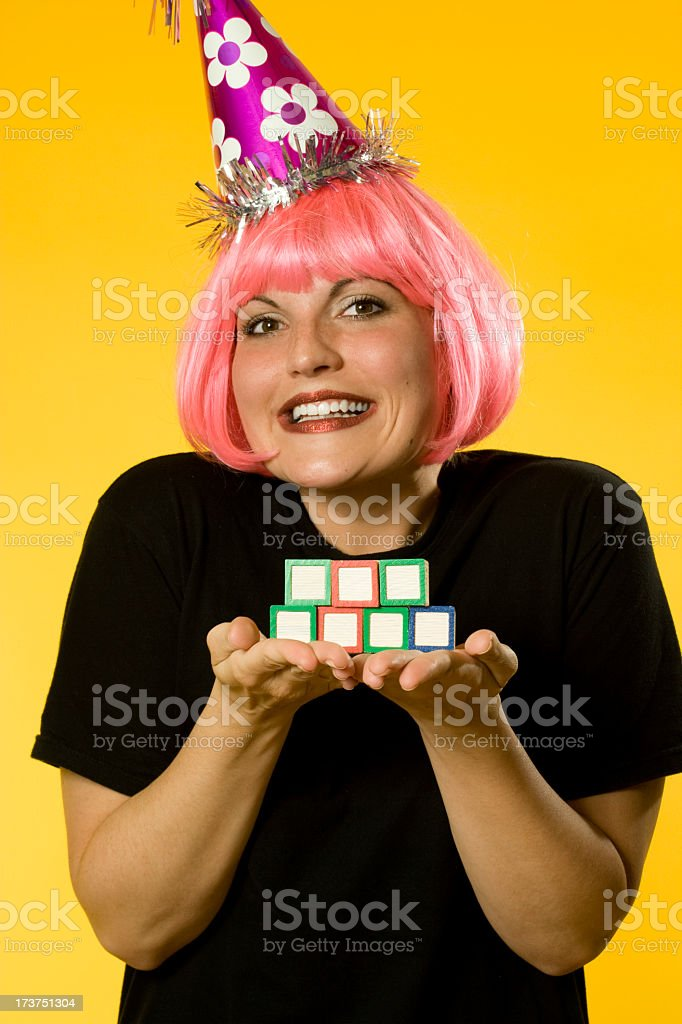 Happy Birthday Girl holding blocks royalty-free stock photo