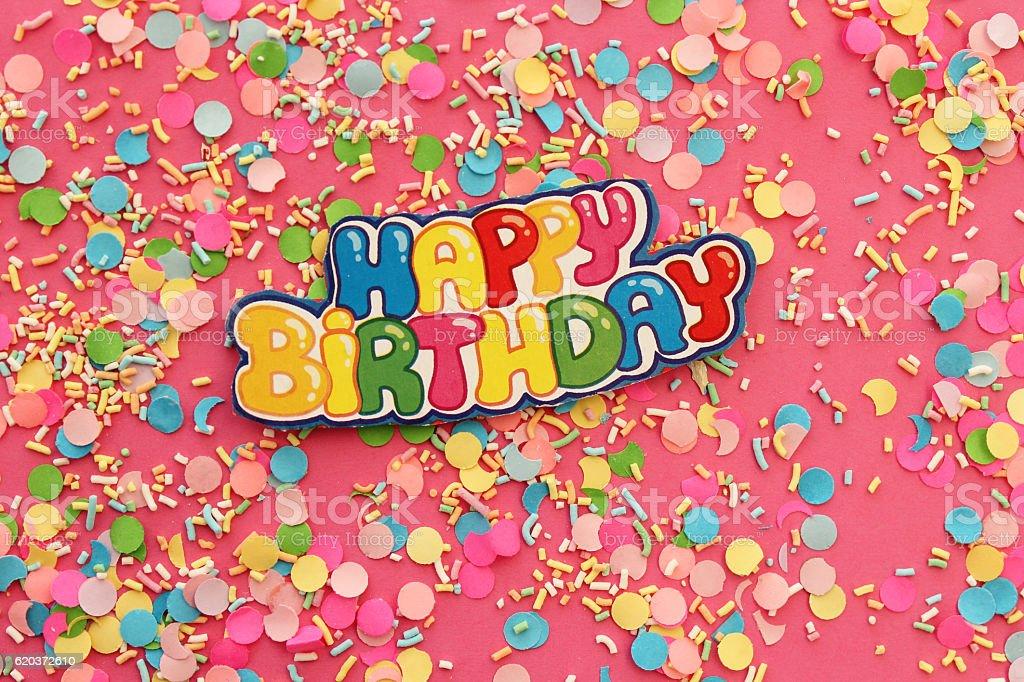Happy birthday greeting card on pink background zbiór zdjęć royalty-free