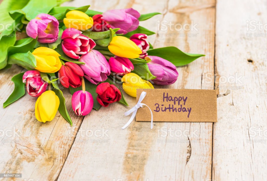 Happy Birthday Greeting Card With Bouquet Of Colorful Flowers Stock