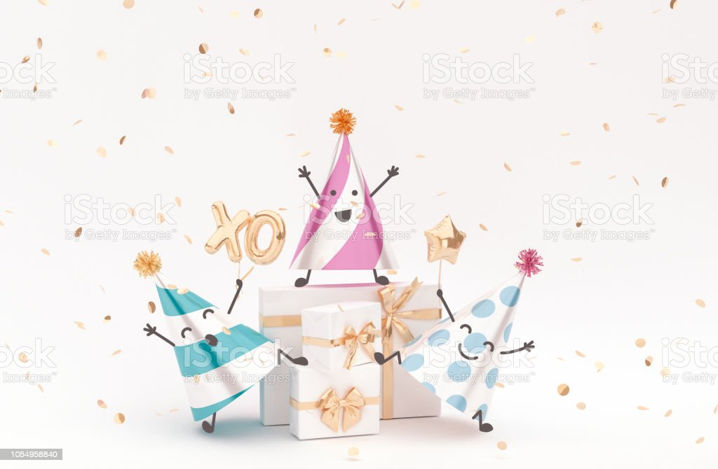 Happy Birthday greeting Characters, congratulation background with...