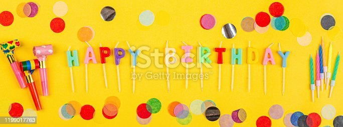 1093222958 istock photo Happy birthday greeting text maked with candles and decorated with confetti on yellow background, top view. Flat lay style. Mockup, template 1199017763