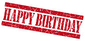 Happy birthday grunge red stamp