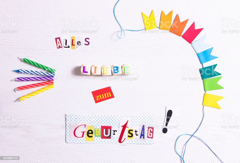 Happy Birthday In German Language Stock Photo - Download