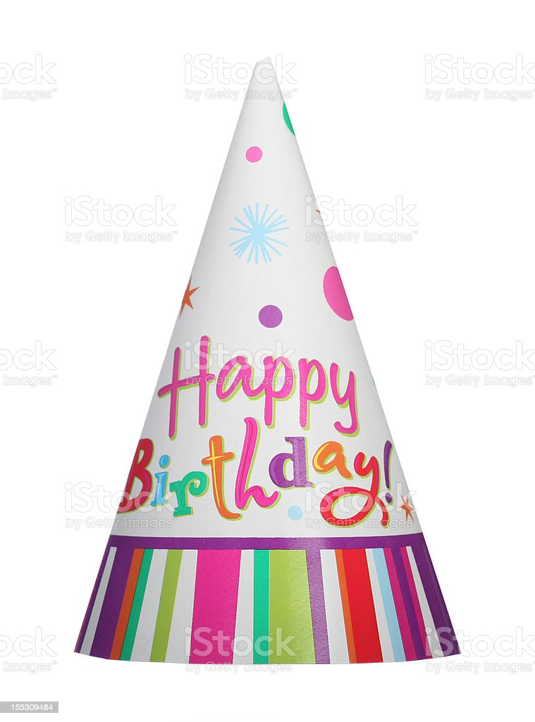 Happy birthday isolated party hat stock photo