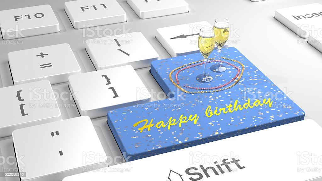 Happy Birthday Keyboard With Glitter And Champagne Stock Photo