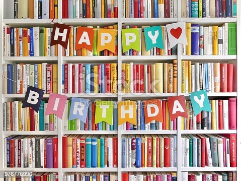 Happy Birthday Letters Hanging On Bookshelf In Library Stock Photo More Pictures Of 2019