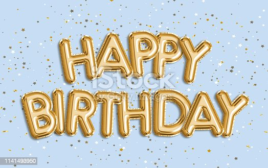 istock Happy Birthday made of balloon letters on color blue background. 1141493950