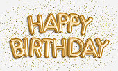 Happy Birthday made of balloon letters on white background. Gold balloons & confetti for greeting card, banner, birthday invitation, celebrate. Photo stock.