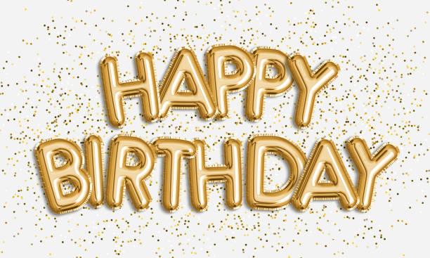 feliz cumpleaños hecho de letras en globo sobre fondo blanco. - cumpleaños fotografías e imágenes de stock
