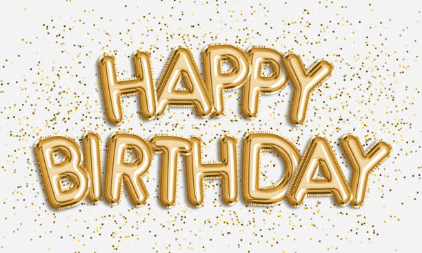 happy birthday made of balloon letters on white background. - happy birthday stock photos and pictures