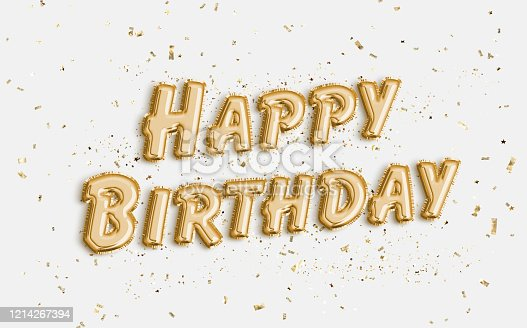 istock Happy Birthday made of balloon letters on white background. 1214267394