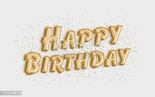 istock Happy Birthday made of balloon letters on white background. 1214726273
