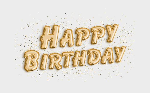 feliz cumpleaños hecho de letras de globo sobre fondo blanco. - cumpleaños fotografías e imágenes de stock