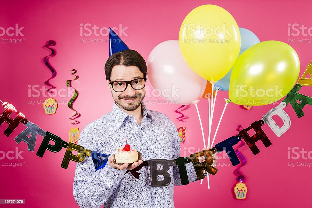 Happy Birthday Nerd Man With Small Cake In Hand Balloons