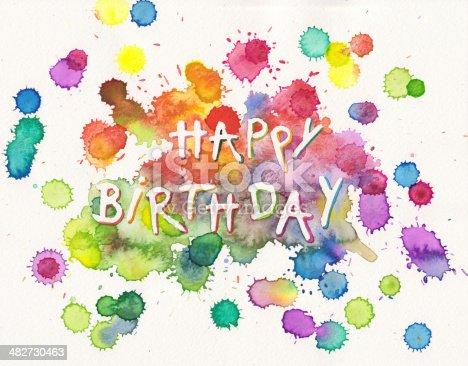 istock Happy Birthday paint splashes 482730463