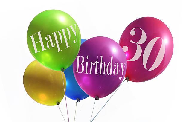 szczęśliwy urodziny party ballons 30 lat - 30 te urodziny zdjęcia i obrazy z banku zdjęć