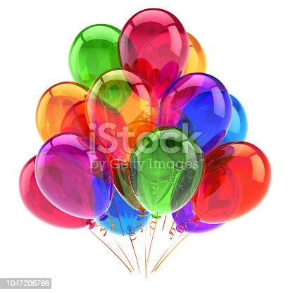 815229514 istock photo happy birthday party balloon colorful. carnival decoration multicolored 1047206766