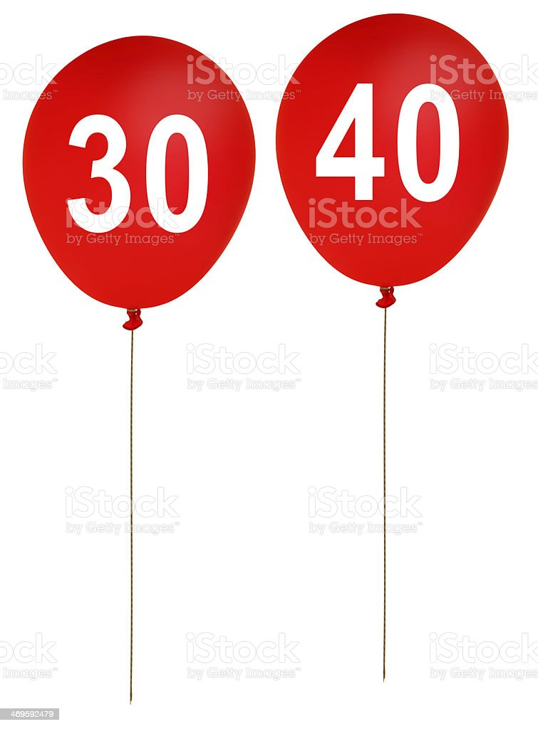Happy birthday party balloons ages 30, 40 -  isolated stock photo