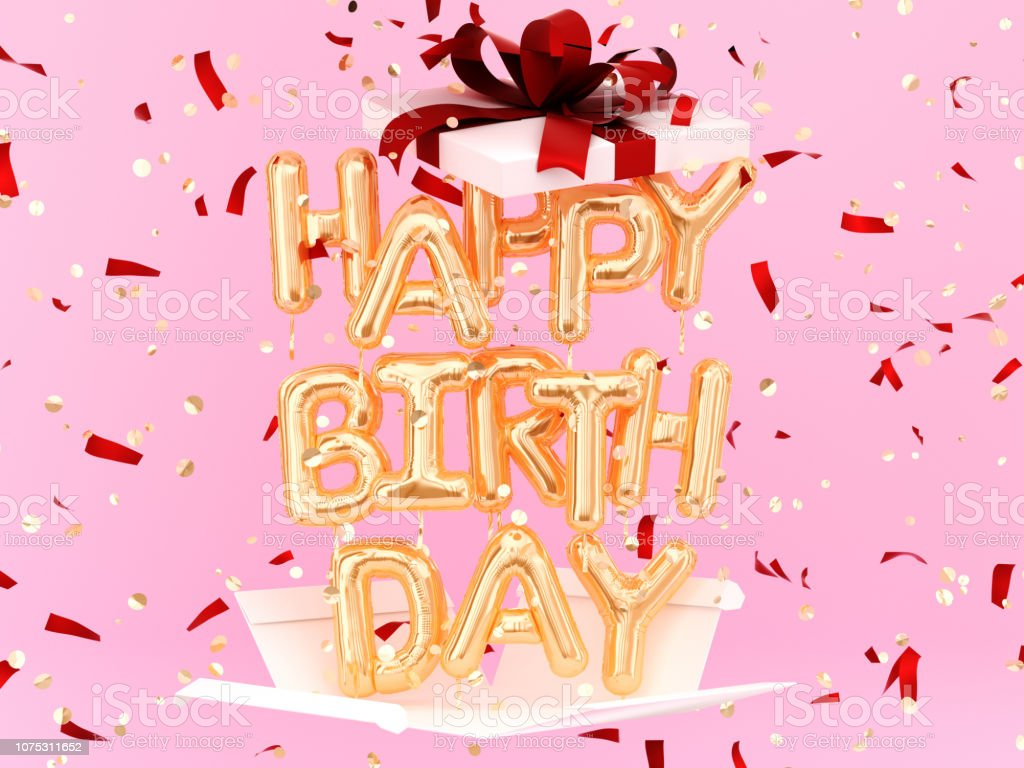 Happy Birthday phrase text gold balloon and gift box stock photo