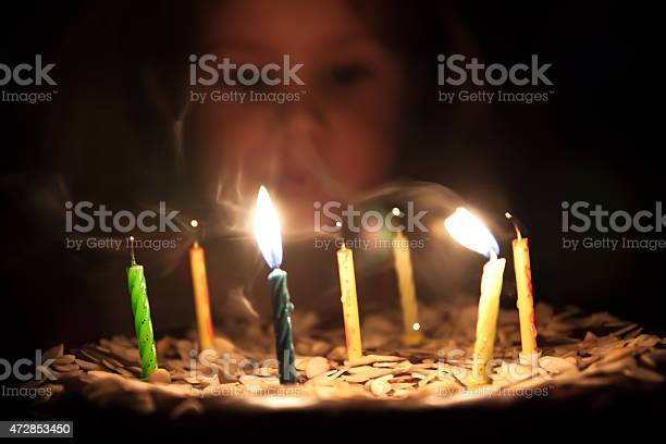 Blown Out Candles Birthday Cake With Some Lit Filtered Happy