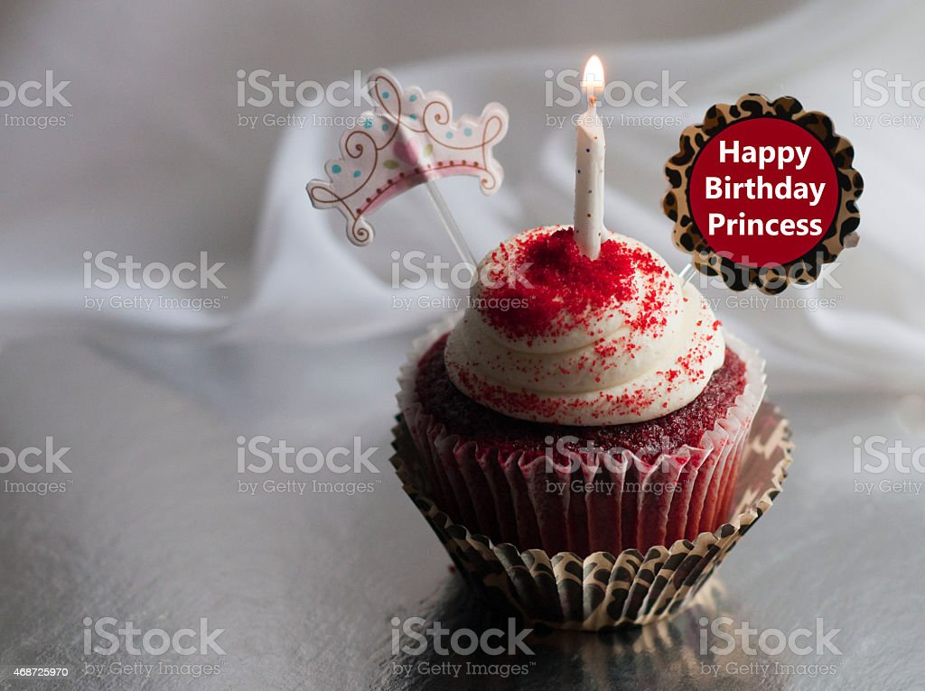 Happy Birthday Princess Red Velvet Cupcake And Candle Stock Photo