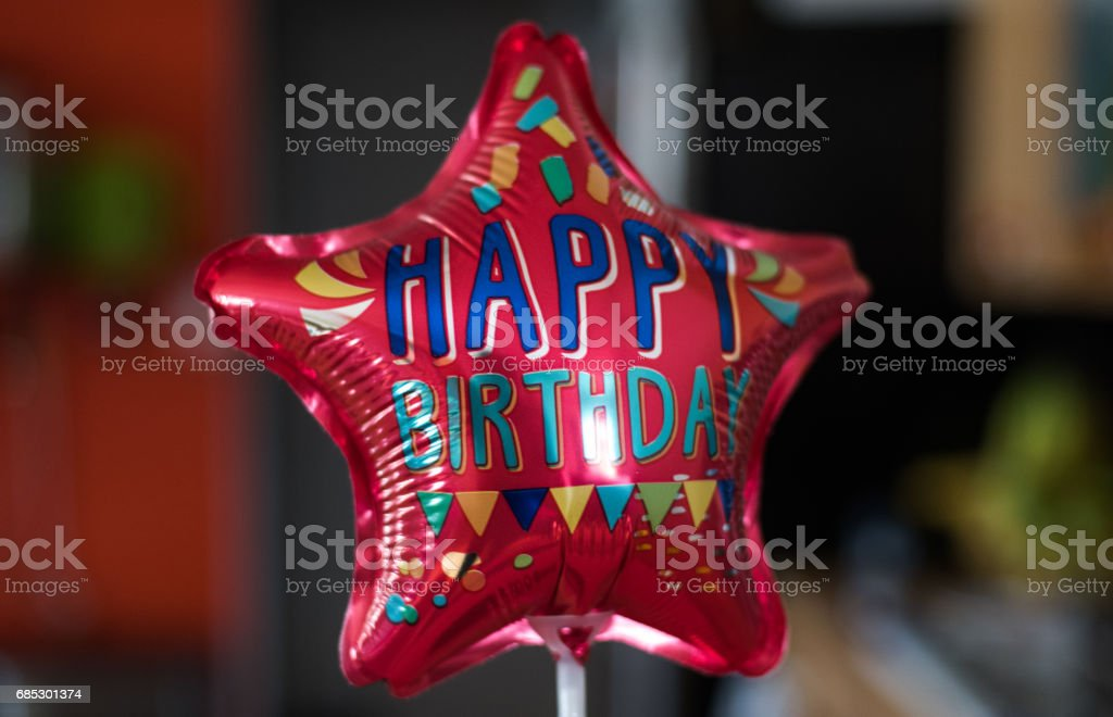 Happy Birthday star balloon stock photo