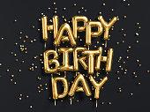 幸せな誕生日おめでとう金箔吹き出しブラック