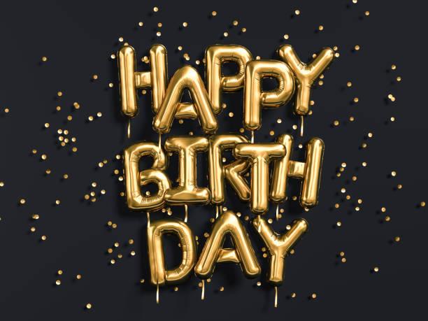 feliz cumpleaños texto felicidades oro globos de la hoja en negro - cumpleaños fotografías e imágenes de stock