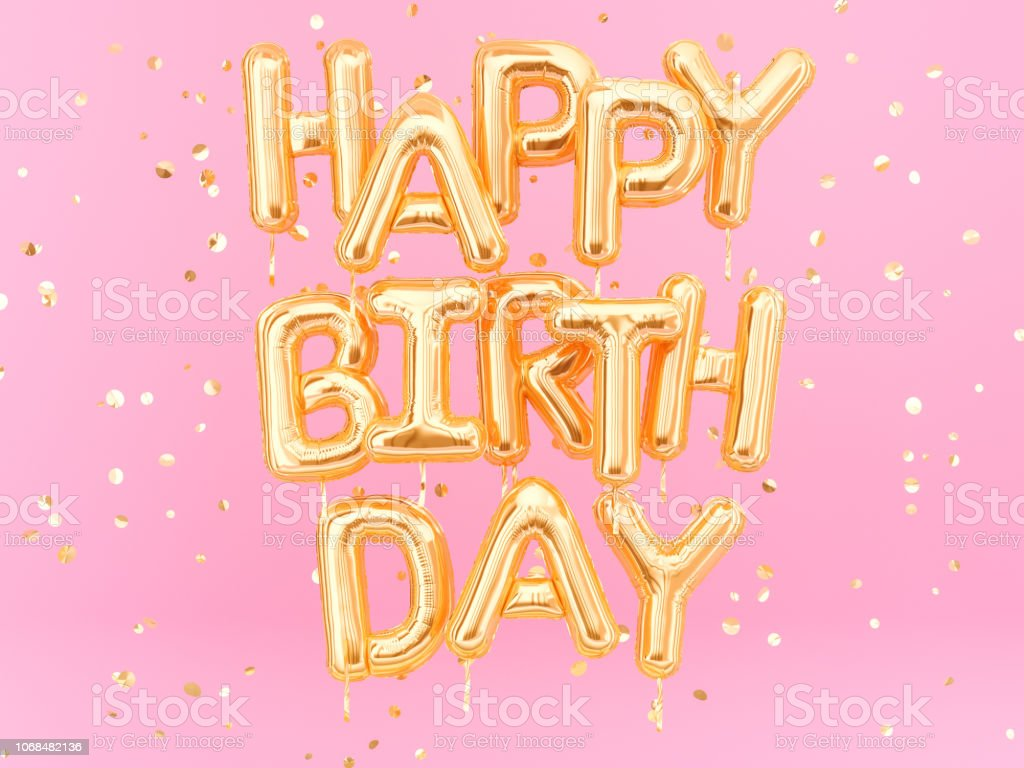 Happy Birthday text congratulations gold foil balloons on pink background royalty-free stock photo