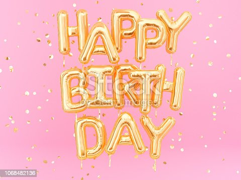 istock Happy Birthday text congratulations gold foil balloons on pink background 1068482136