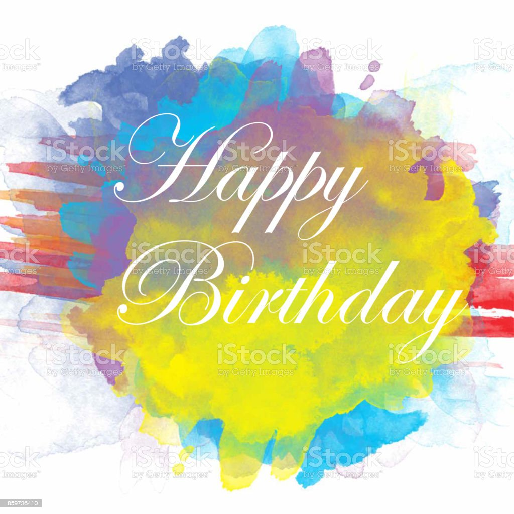 Happy Birthday  Text in Watercolor Background stock photo