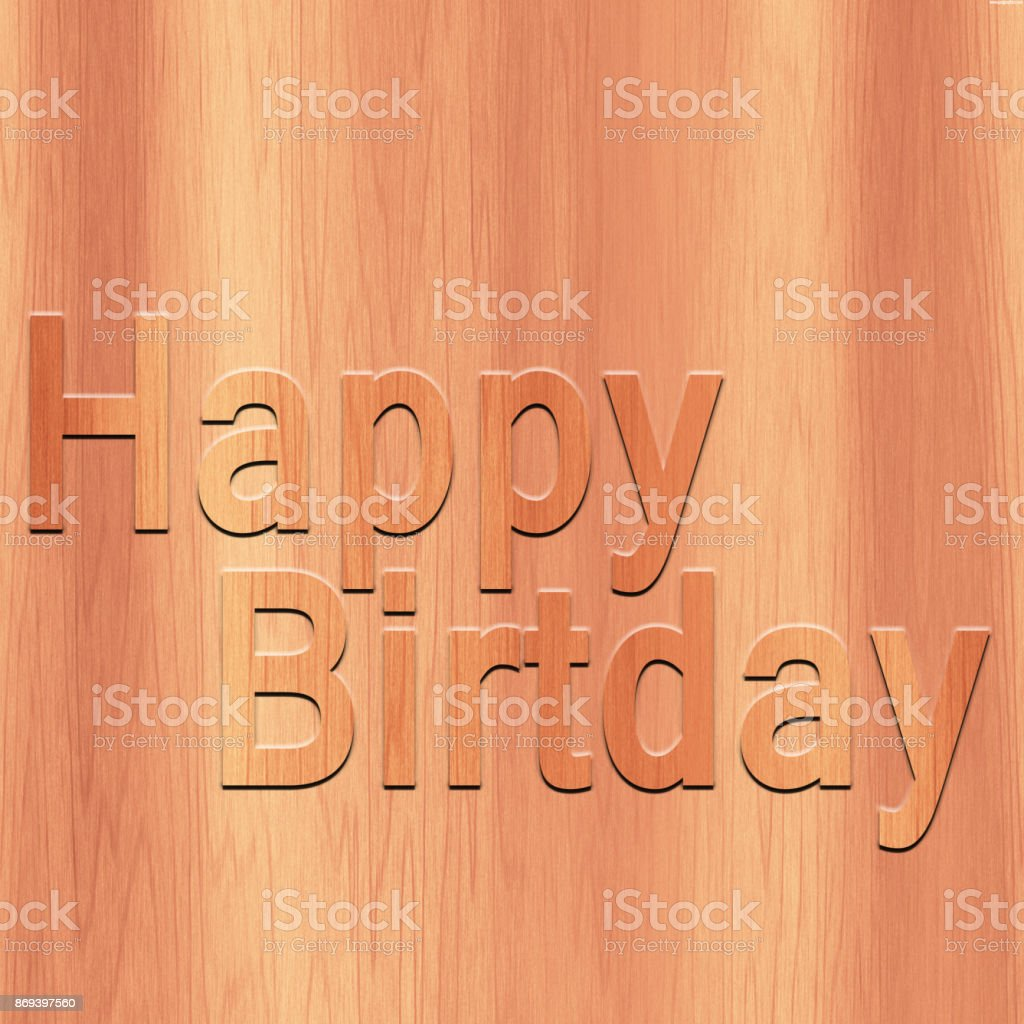 Happy Birthday text in wood background stock photo
