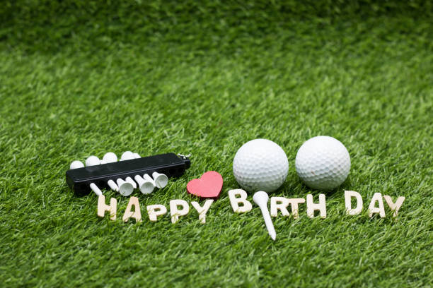 Happy Birthday To Golfer With Golf Balls And Tee On Green Grass Stock Photo