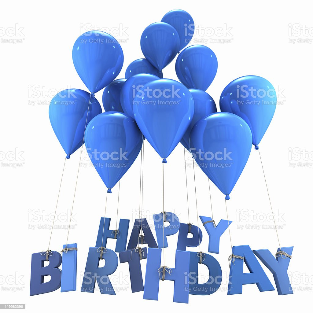 Happy birthday with blue balloons royalty-free stock photo