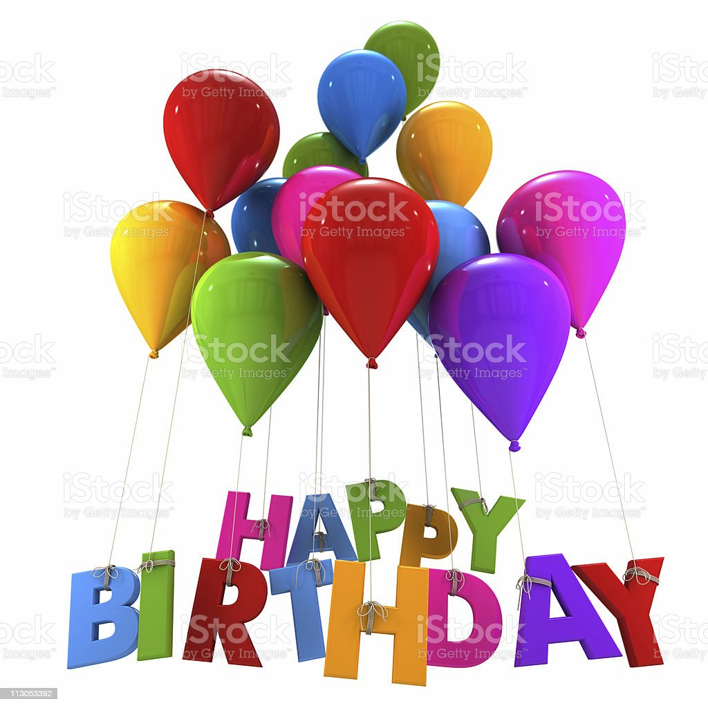 Happy birthday with multicolored balloons stock photo