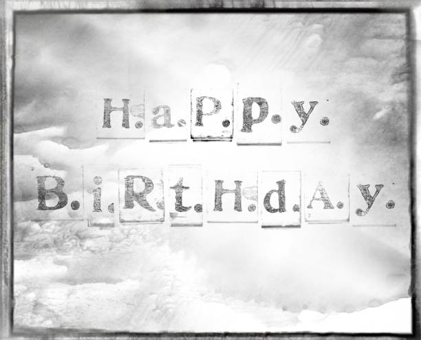 happy birthday words made from vintage wood letter press stock photo more pictures of alphabet istock